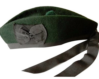 2c40540ffecdc6 Scottish Wool Glengarry Hat Bonnet Beret Army Cap Scott's Pipe Band - Green