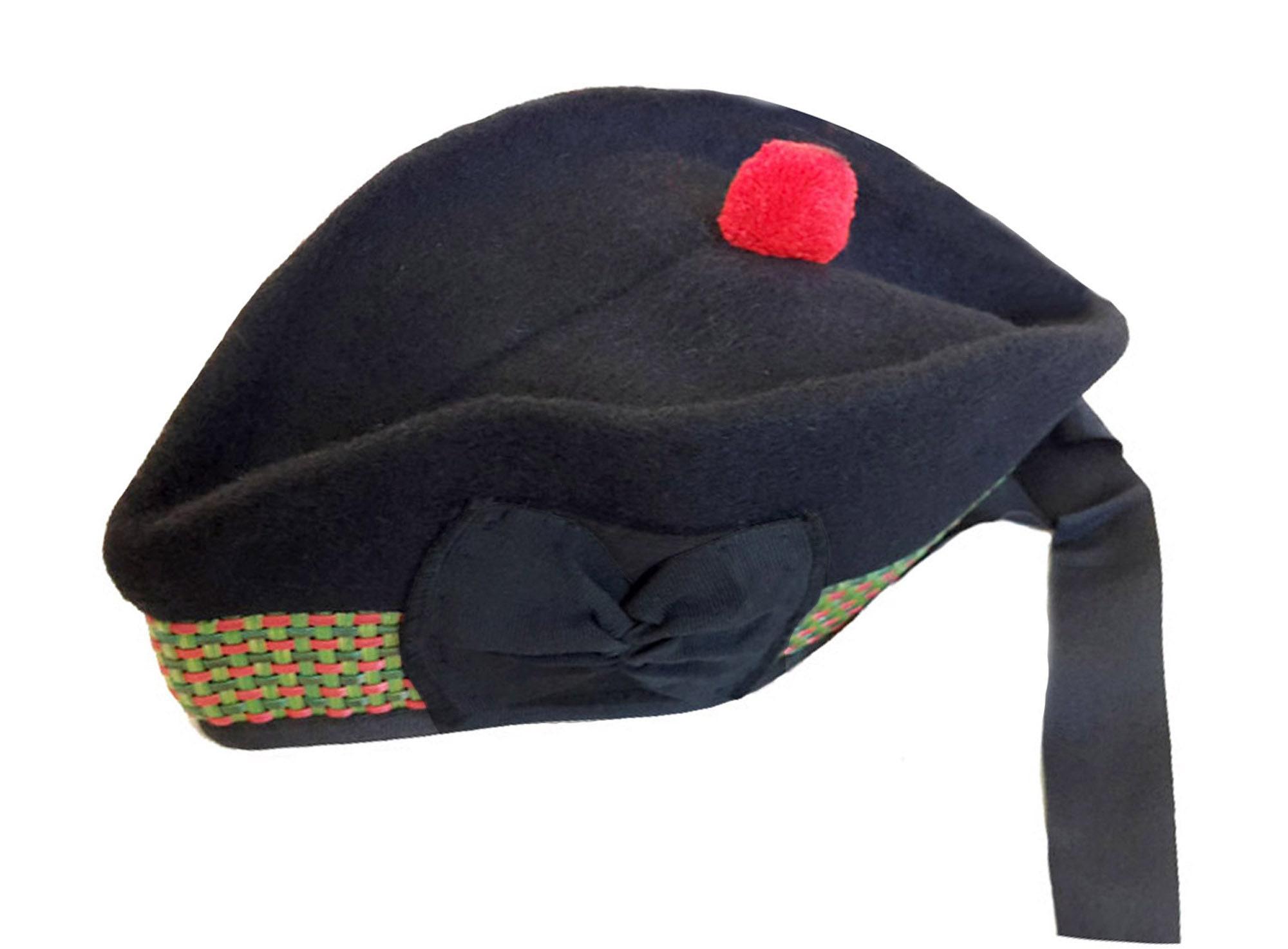 Balmoral Hat Scottish Beret Glengarry Bonnet Pipe Band Black Wool Pom Pom Bobble