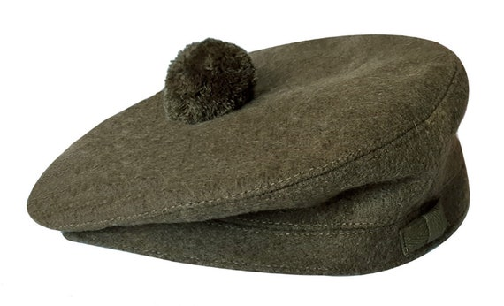 Army Green Wool Scot/'s Bonnet Traditional Scottish Highlander Tam Hat Kilt