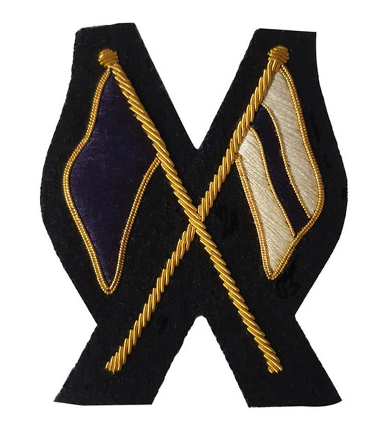 Flags - Crossed Signals No 1 Dress Wire Blazer Badge - Hand Embroidered  Gold Bullion Wire