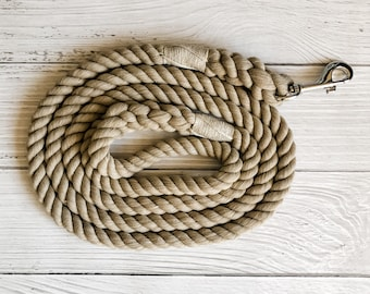 Tan Cotton Rope Dog Leash //  Upcycled Rope Leash // Cotton Rope Leash // Rope Dog Lead