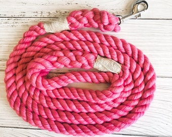 Hot Pink Cotton Rope Dog Leash //  Upcycled Rope Leash // Cotton Rope Leash // Rope Dog Lead