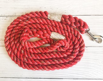 Red Glitter Cotton Rope Dog Leash //  Upcycled Rope Leash // Cotton Rope Leash // Rope Dog Lead