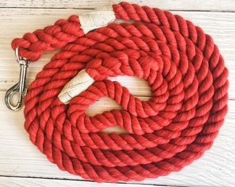 Red Cotton Rope Dog Leash //  Upcycled Rope Leash // Cotton Rope Leash // Rope Dog Lead