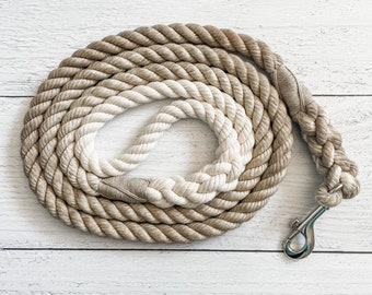 Taupe Cotton Rope Dog Leash // Ombre Rope Leash // Cotton Rope Leash // Rope Dog Lead