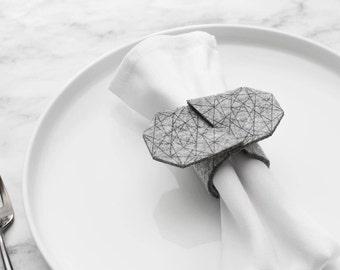 Minimal Felt Napkin Ring Christmas Thanksgiving Housewarming Wedding Engagement Bridal Sale discount Geometric Gray Napkin Cuff Wrap