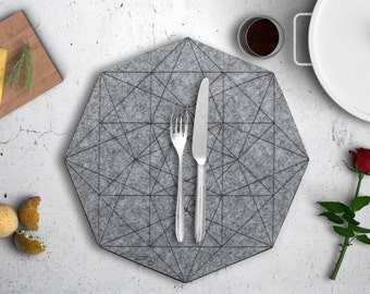 Hexagon Gray Felt Placemat, Wedding Round Table Linen, Holiday Dinner Table, Geometric Tablecloth, Nordic Scandi Minimal Decor, Laser cut
