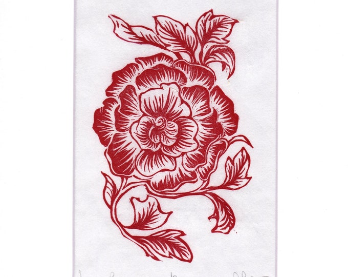 American Red Rose Linoleum print