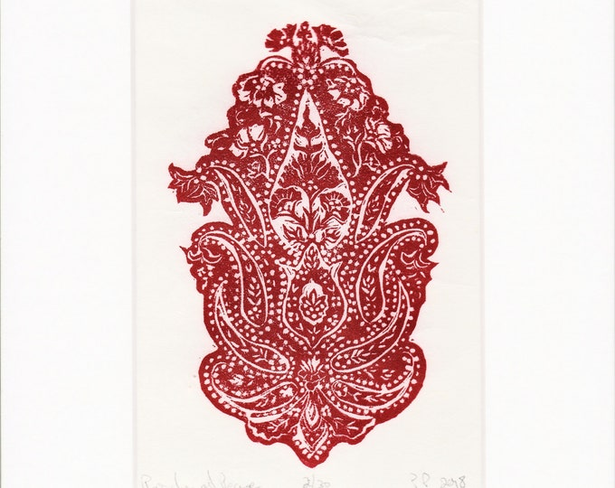 Paisley at Peace- Red Linoleum print
