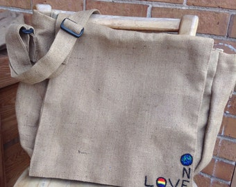 SALE! Now priced 20% off original price/Was 40 Dollars/ One Love Jute Messenger Bag/College/Book Bag/Back To School/Student Bag/Hipster Bag