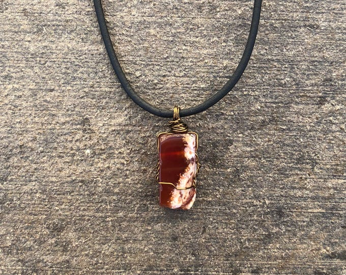 Wire-wrapped Carnelian Necklace