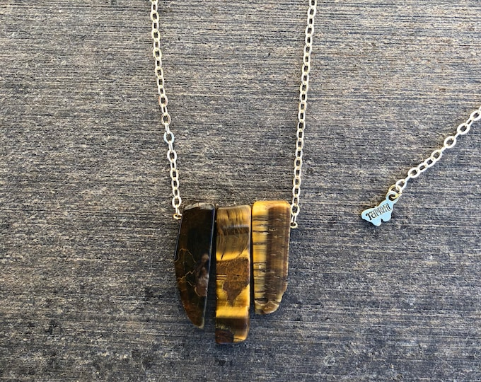 Tiger Eye Triple-Branch Necklace