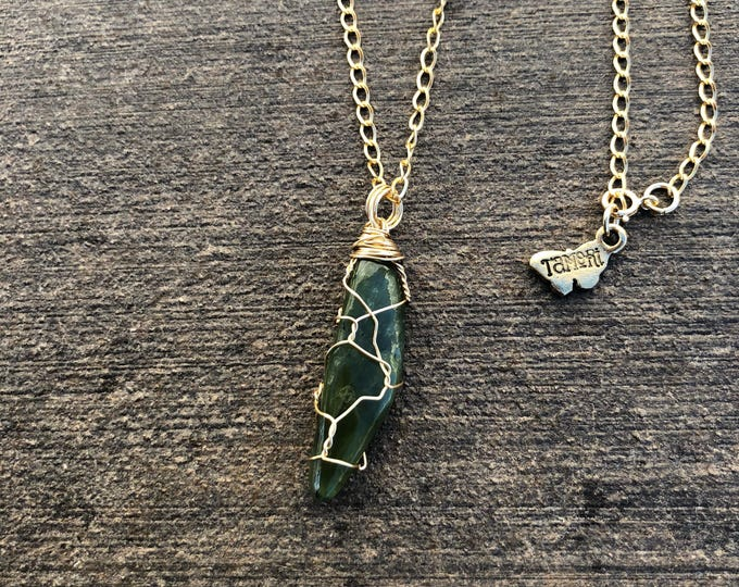Wire-wrapped Jade Necklace