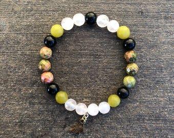 Rose Quartz, Jade, Ukanite, and Black Obsidian Bracelet