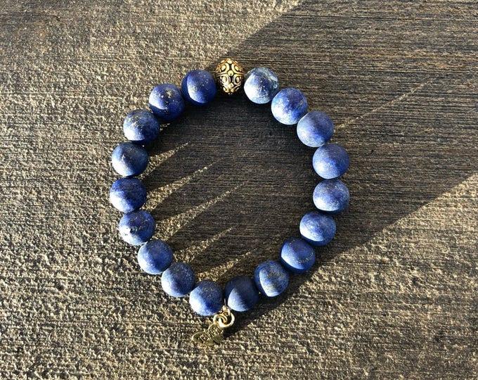 Matte Lapis Lazuli Bracelet 10mm