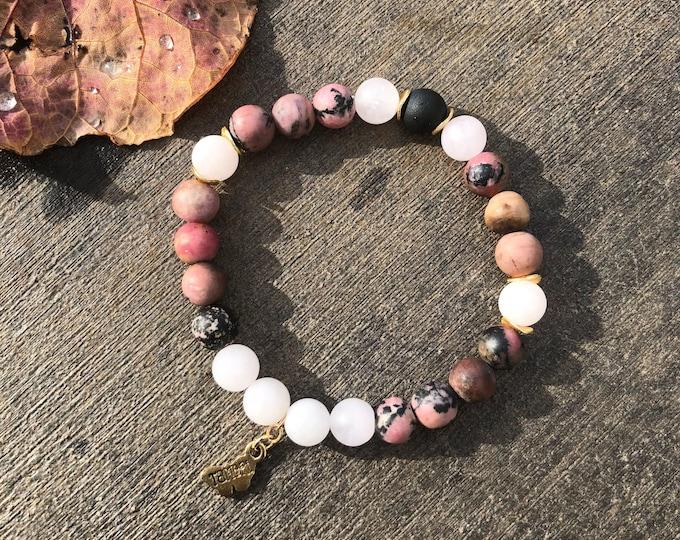Rose Quartz, Rhodonite, and Druzy Bracelet
