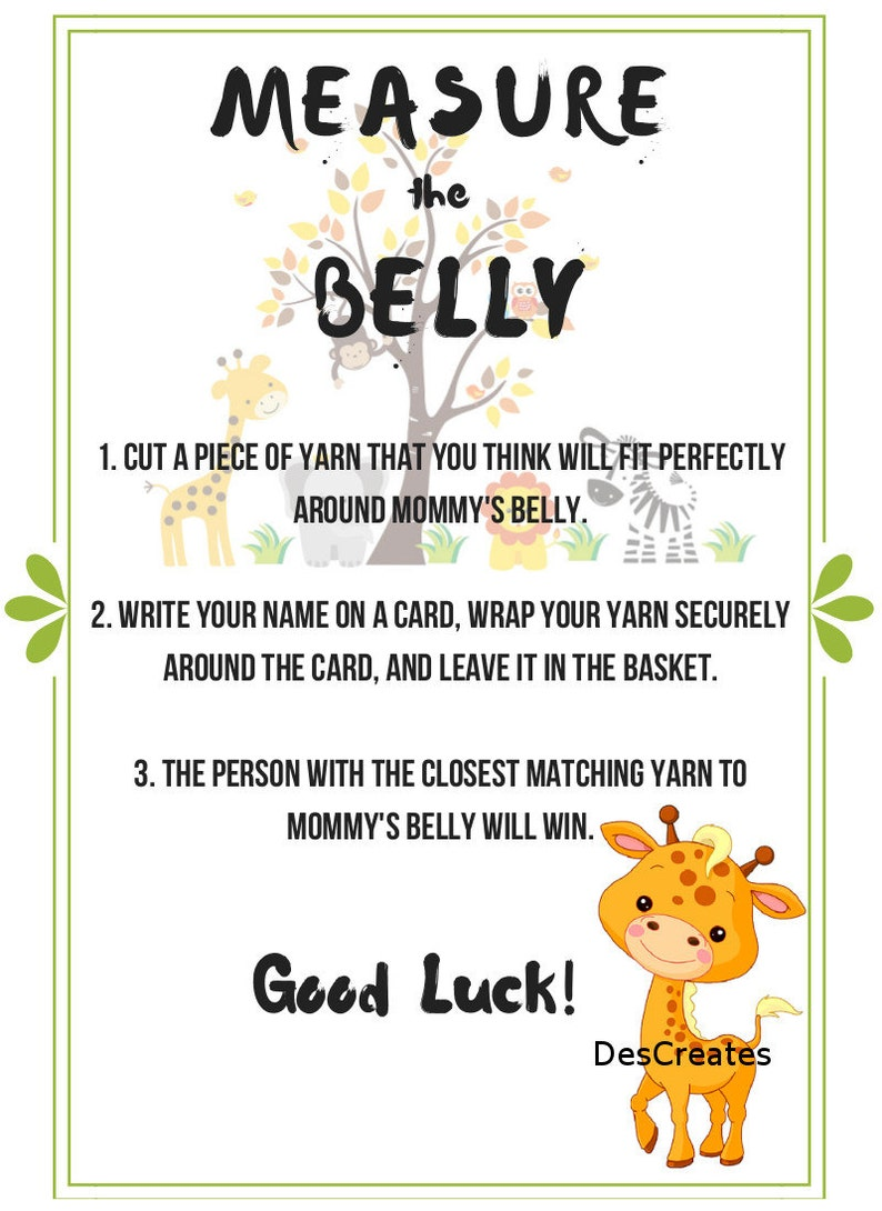Jungle Theme Measure The Belly Baby Shower Game Instant Etsy