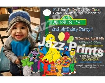 Sesame Street Birthday Invitation.