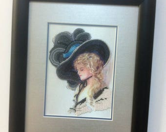 Picture embroidered with beads. 100% hand made! Free shipping!!!