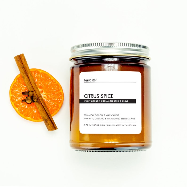 CITRUS SPICE {classic} Coconut Wax Candle made with Sweet Orange, Cinnamon  & Clove Essential Oils  100% Natural with a Hemp Wick
