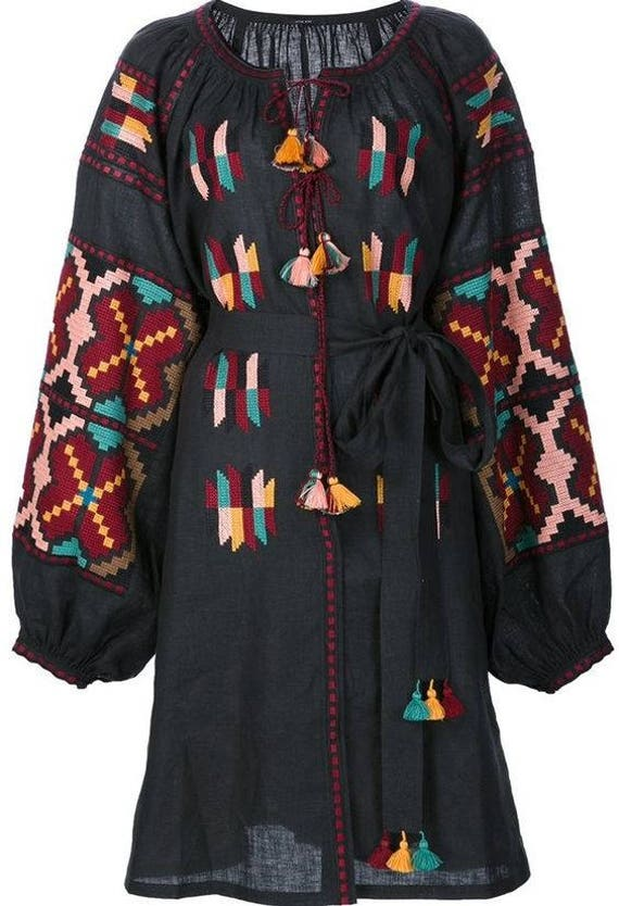 clothing dress ljm women robe pattern dress dress women dress luxury summer Black short dress embroidered rustic womens geometric HTzqwI
