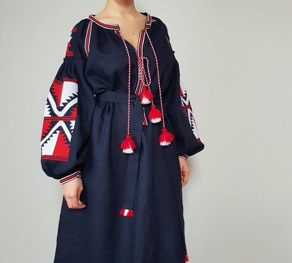 NAVY DRESS, ladies dress, organic linen, dress embroidery, linen women clothing, casual dress, women dresses, dress with pockets, custom
