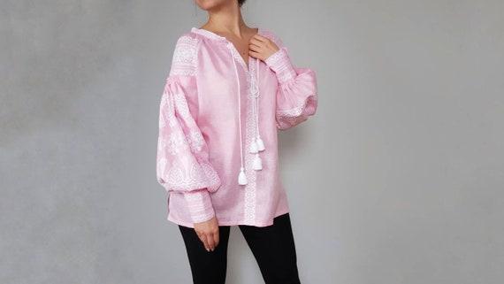 linen boho summer color clothing style blush shirt blouse embroidered summer Linen vyshyvanka clothing blouse qxAwvf7E