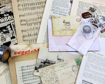 Junk Journal Kit Regular Size - Vintage Papers, Ephemera, Stickers, Washi Tape approx 40 -50 pcs