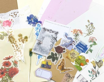 Creative Journal Kit - Mini Kit for Journaling with Quality Papers, Stickers, Ephemera, Vellum Pieces, and Die Cuts 40 Pieces Approx
