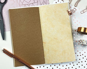 Rose Gold Creative Journal Junk Journal Travelers Notebook Insert Slim with Speciality Papers TN inserts Creative Journaling Kraft Mulberry