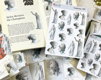 Classical Stickers, Die Cuts, and Journal Cards Greco-Roman Style Collection for Planners, Journals, Scrapbooking, Art Journaling