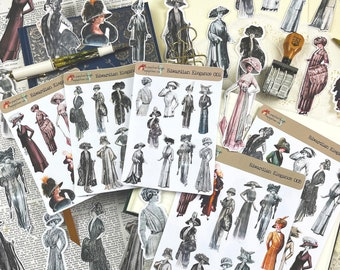 Edwardian Elegance Stickers and Die Cuts, Vintage Antique themed for Junk Journals, Journals, Scrapbooking, Planners, Mixed Media Projects