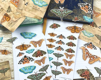 Moths Sticker and Die Cut Collection 'A Whisper of Moths' : Handrawn Designs for Planners, Journals, Scrapbooking, Art Journaling, etc