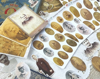 Victorian Portraits Stickers, Die Cuts, Journal Cards Vintage Antique themed for Junk Journals, Journals, Scrapbooking, Planners
