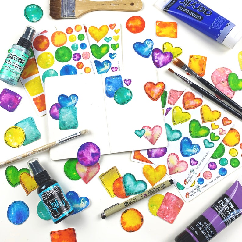Rainbow Doodles Sticker and Die Cut Collection Handrawn for Mix and Match