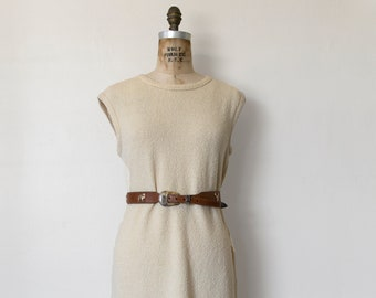 Pecora Dress — vintage terrycloth dress / ILGWU vintage dress / 1970s knit cotton shift dress / casual white sleeveless summer midi dress