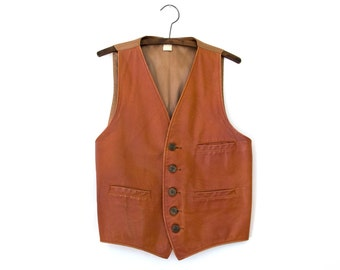 Sharpshooter Vest — 1970s vintage handmade brown leather vest with wooden buttons // unique Southwestern sample garment // medium // small
