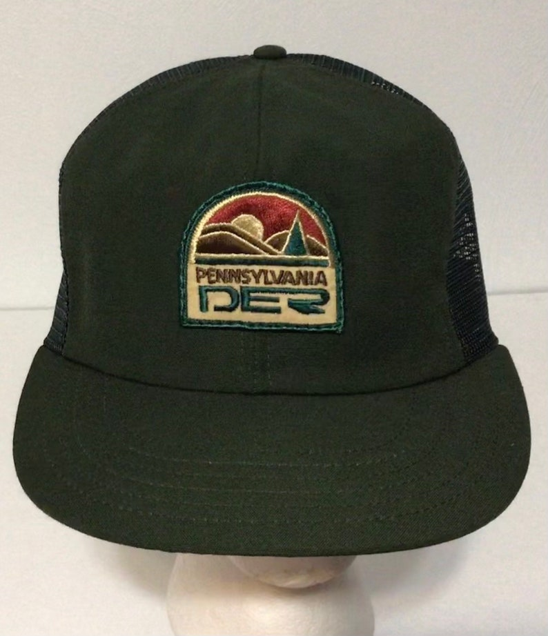 Vintage Pennsylvania DER Department Environmental Resources Forest Green Hat Snapback Cap w Mesh Ranger