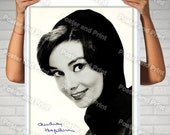 Audrey Hepburn Signed Portrait Reproduction Feminine, Movie Star Screen Goddess A Fantastic Monochrome Cover, photograph poster print 1097