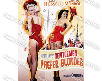 Marilyn Monroe Jane Russell in Gentlemen Prefer Blondes.  reproduction movie poster Rare USA  print chic vintage appeal  timeless beauty 888