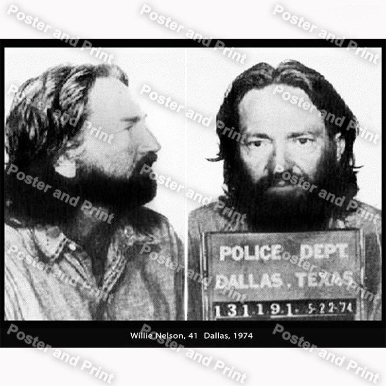 d7e6e7a50b Willie Nelson 41 actor was busted Dallas 1974 Possession of | Etsy