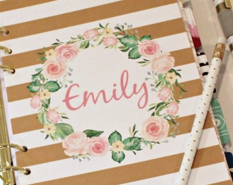 PERSONALIZE PLANNER DASHBOARD, Personal Planner Dashboard, Gold Stripes with Vintage Rose Wreath personalized with your name, A5 Dashboard