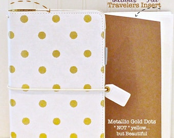 Travelers Notebook and comes with a Travelers Insert Book , Gold Dot Travelers Notebook Folder,r, Midori Travelers Inserts, Travel Journal