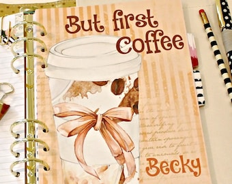 Personalized Planner Dashboard, BUT FIRST COFFEE, Girly Coffee Cup, A5 Planner, Planner Accessory, Planner Dashboard, Personal Planner