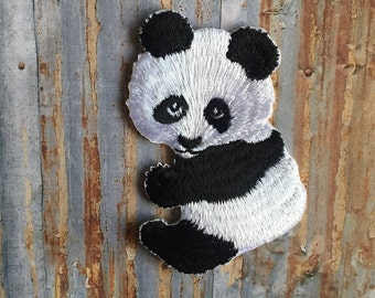 China Panda Black White Animal Baby Cartoon Kids Embroidered Iron On Or Sew On Patch