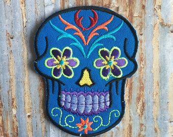 Blue Flower Cross Sugar Skull Day Dead Floral Mexico Holiday Embroidered Iron On Or Sew On Patch
