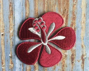Hibiscus Flower Tropcal Paradise Island Hula hawaii Embroidered Iron On Or Sew On Patch