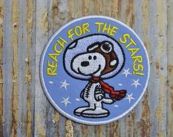 SNOOPY Stars Cartoon Kids Embroidered Iron On Or Sew On Patch