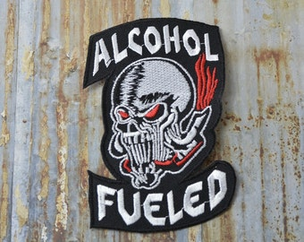 Alcohol Fueled Gang Party Skull  Saying Funny Quote Comedy Iron On Sew On Patch Transfer