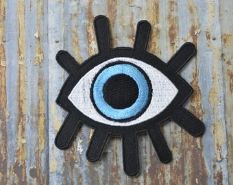 Evil Eye Blue Turkish Curse Skate Street Embroidered Iron On Sew On Patch Transfer